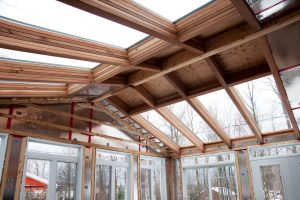 Interior wooden framing of house
