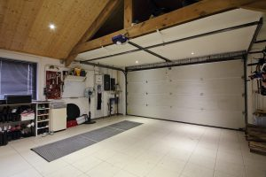 Interior of large garage with white walls