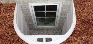 Exterior shot of a basement window