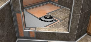 Walk-in bathroom floor and drain