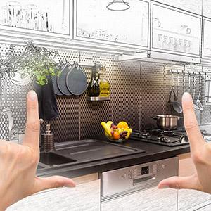 Hands framing kitchen concept