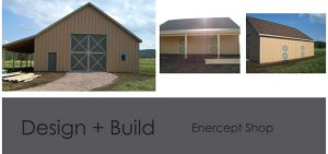 Three photos showing different angles of a large detached garage
