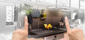 Using hands to frame kitchen concept