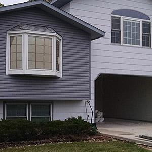 Exterior of a gray blue house