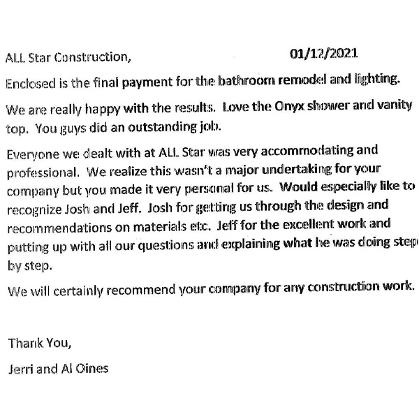 Letter thanking All Star Construction for work