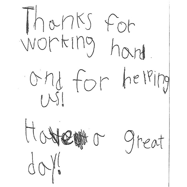 Letter of thanks to All Star Construction