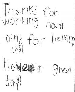 Handwritten letter of thanks to All Star Construction